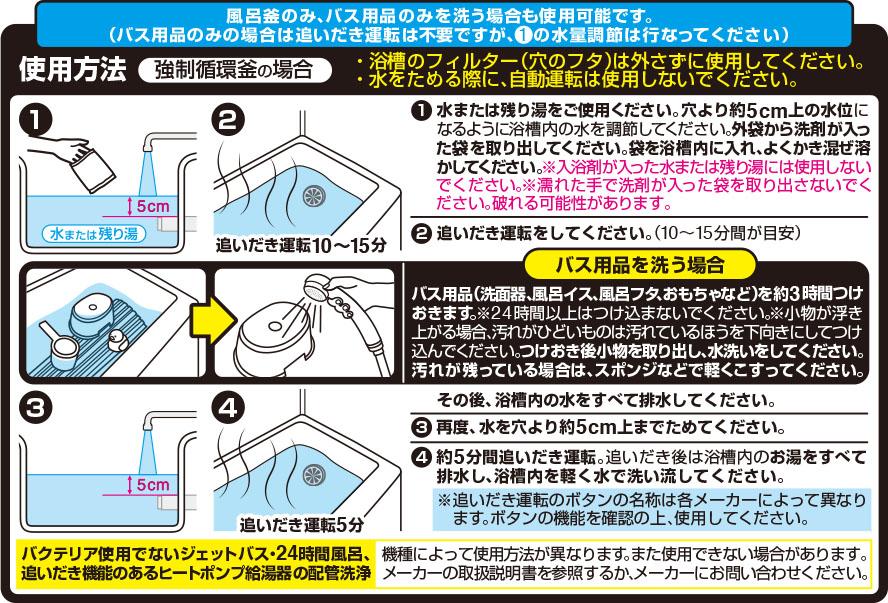 フロ釜&バス用品まるごと洗浄 バスアシストの使用方法